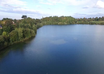 Astbury Mere Drone Shot over the water
